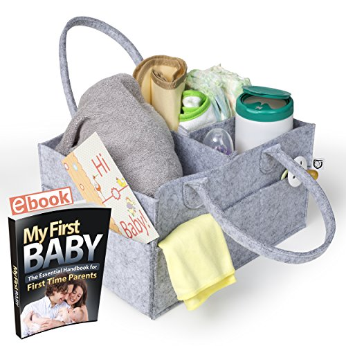 Baby Diaper Caddy Portable Organizer Storage Basket   Customizable Compartments To Carry More Items   Durable And Lightweight Nursery Travel Bin   Free Baby Shower Gifts Postcard Is Included