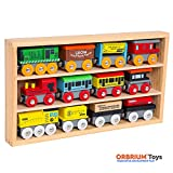 Orbrium Toys 12 Pcs Wooden Engines & Train Cars Collection fits Thomas, Brio, Chuggington