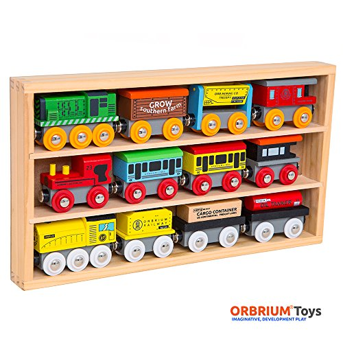 Orbrium Toys Train Set - 12 Pc Wooden Engines & Train Cars