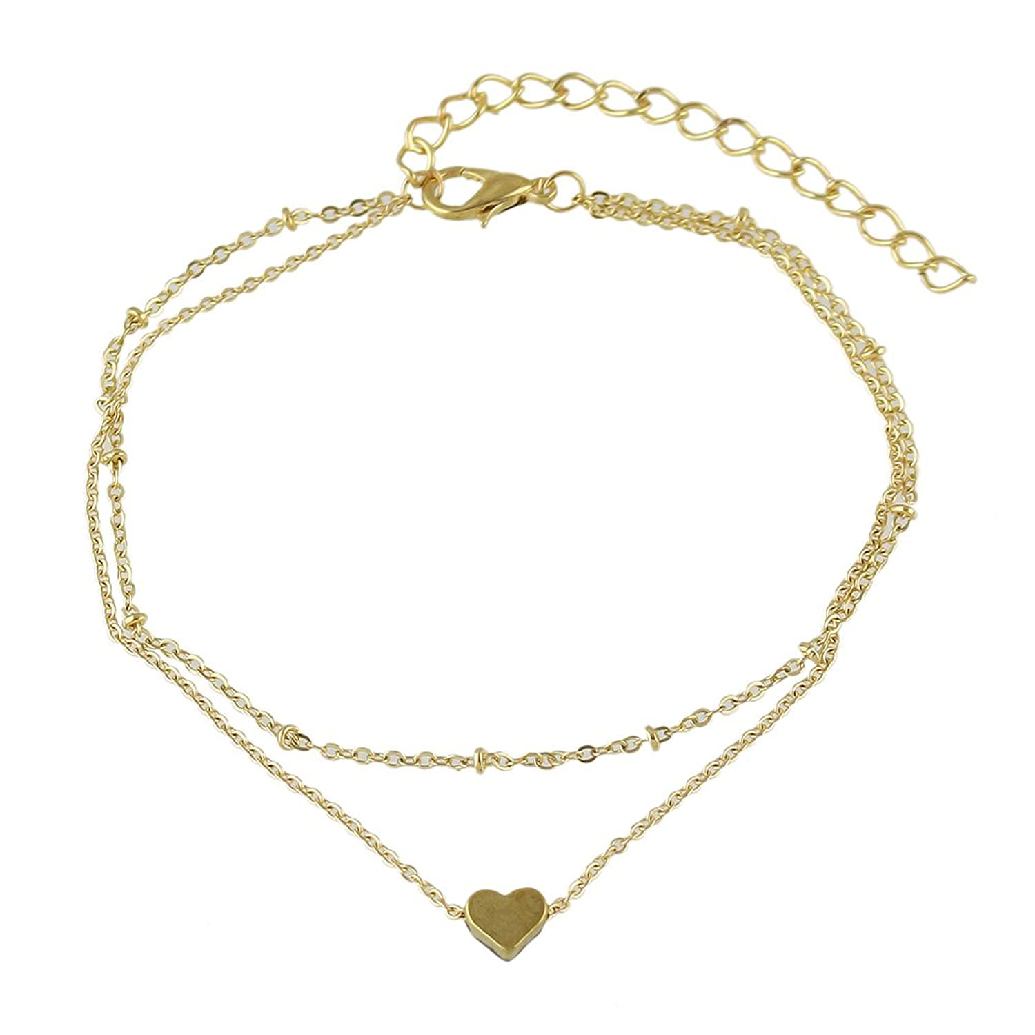 Feelontop Boho Chic Style Sexy Barefoot Double Layer Gold Chain Heart Charm Anklets with Jewelry Pouch