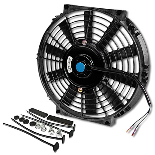 (Pack of 1) 10 Inch High Performance 12V Electric Slim Radiator Cooling Fan w/Mounting Kit - Black