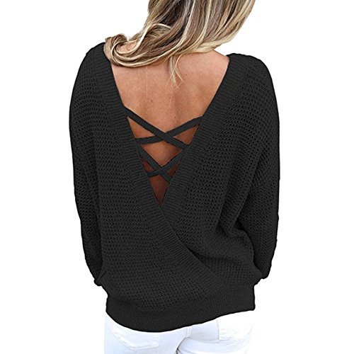 Cross Knit Criss Top (XinDao Women Upgraded Version Casual Loose, Round Neck V Criss Cross Backless Long Sleeve Knit Pullover Sweater Jumper Tops Black L)