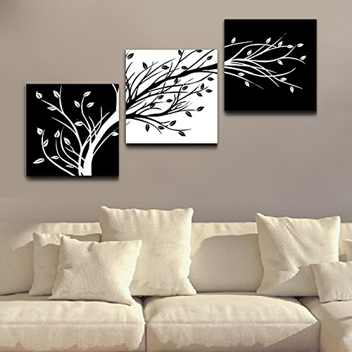 Wieco art canvas print black and white leaves modern for Home decor uae