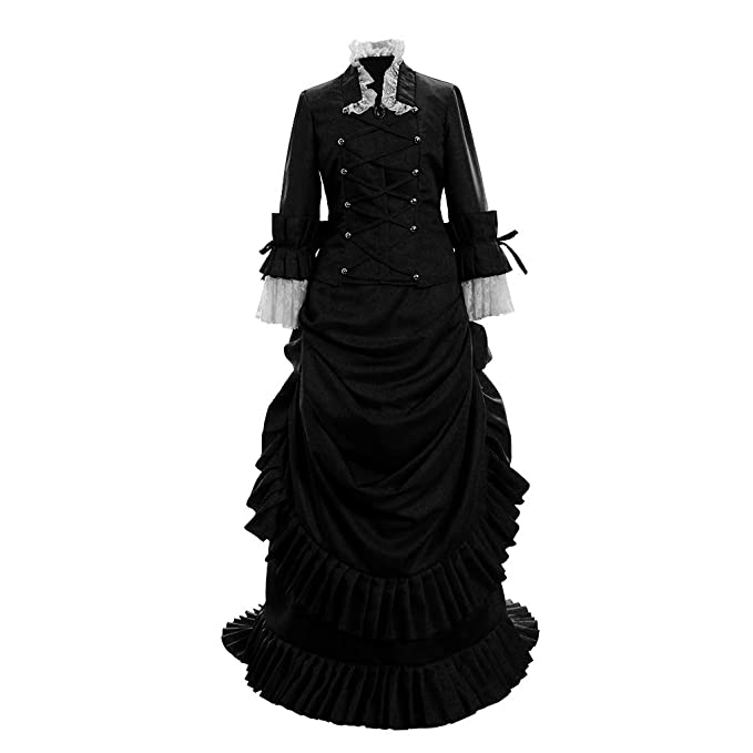 Victorian Dresses | Victorian Ballgowns | Victorian Clothing 1791s lady Womens Historical Inspiration Victorian Bustle Dress Gown Halloween Costume $152.80 AT vintagedancer.com