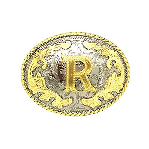 Buckle Western Cowboy Style Rodeo Large Gold Silver Metal Buckles for Men Women (ABC-Z). ()