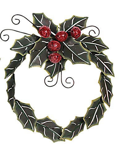 Metal Holiday Holly Leaves With Jingle Bells Christmas Wreath (16.5'' x 14.25'' x 2.5'')