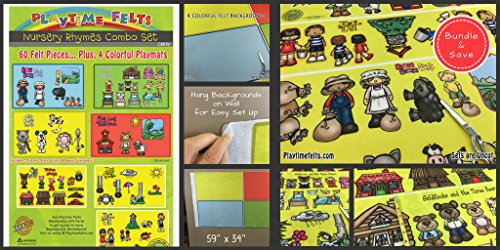 Nursery Rhymes Flannel Board Stories for Toddlers - Includes Four Felt Colorful Backgrounds - Soft and Durable - Perfect for Story Time - Features 60 Felt Pieces in 7 Nursery Rhymes Preschool Themes (Goldilocks And The Three Bears Activities For Nursery)