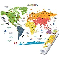 HomeEvolution Kids Educational Removable World Map Peel...