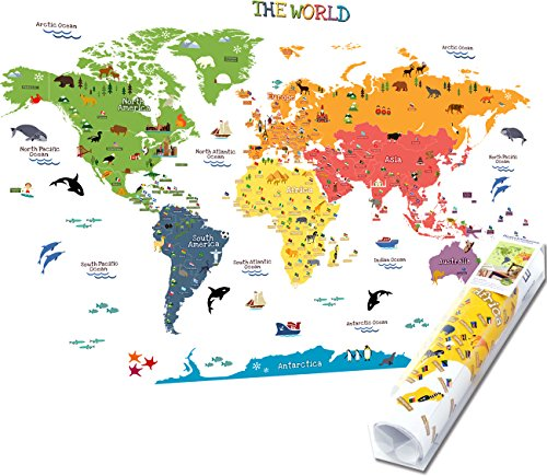 (HomeEvolution Kids Educational Removable World Map Peel and Stick Large Wall Decals Stickers for Children Nursery Bedroom Living Room)