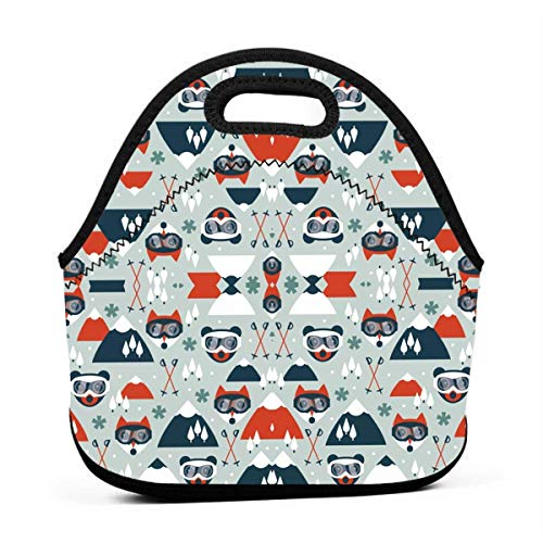 QFOOD Retro Ski Fox and Grizzly Portable Carry Insulated Lunch Bag - Large Reusable Lunch Tote Bags for Women, Teens, Girls, Kids, Baby, Adults Outdoor Tour School Office Picnic - Tour Mens Ski
