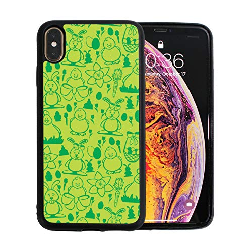 Cute Bunny and Chick Green Case for iPhone Xs 6.5-Inch Max Soft TPU Thin Cover Shock-Absorption Bumper Cover ()