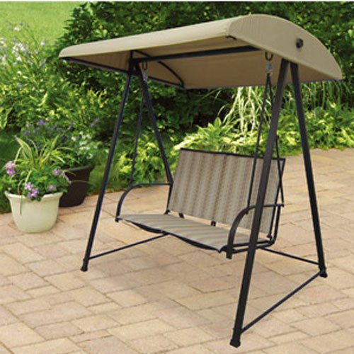 Garden Winds OPEN BOX Striped 2 Person Swing Replacement Canopy Top Cover