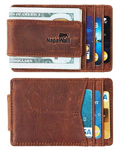Toughergun Genuine Leather Magnetic Front Pocket Money Clip Wallet RFID Blocking (Hunter Deep Brown)