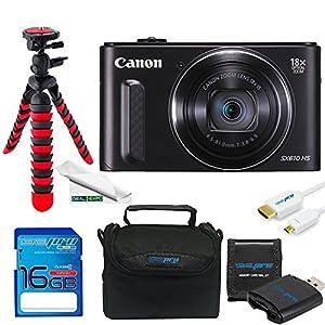 Canon PowerShot SX610 HS Digital Camera (Black) + 16GB Be-Pro Memory Card + Micro HDMI + Be-Pro Accessories Bundle