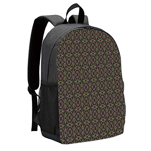 Celtic Decor Durable Backpack,Floral Ethnic Celtic Patterns Heraldic Tribal Symbolic Historical Bound Shapes Image for School Travel,12