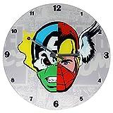 Marvel Comics Mixed Character Faces Glass Clock, 13.75-Inch
