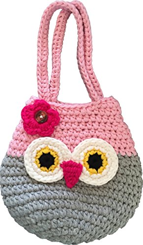 Happy-Owl-Handbag-Perfect-Gift-For-Little-Young-Teen-Girls-Cute-Pink-Grey-Purse-Handmade-Crochet-Soft-Yarn-Wristlet-For-All-Ages-Dress-Up-Play-Or-Use-As-Cell-Phone-Case-Holder-Pouch