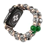 Apple Watch Band,CHEEDAY Fashion Beaded Jewelry Bracelet Strap Watch Replacement Band For Apple Watch 42mm (Black+Green Jade)