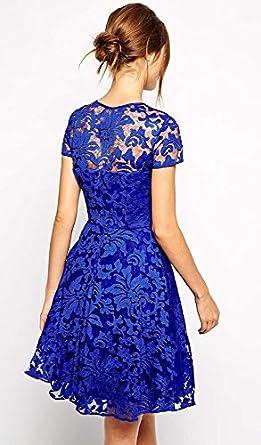 a99be103c1cb Zeagoo Sexy Damen Sommerkleid Spitze Bodycon Kleid Knielang Spitzenkleid  Schwraz,Blau  Amazon.de  Bekleidung
