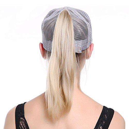 JAKY Global Glitter Ponytail Cap Messy Bun Adjustable Mesh Trucker Baseball  Cap Hats Women Girls(Silver) e37c4882991c