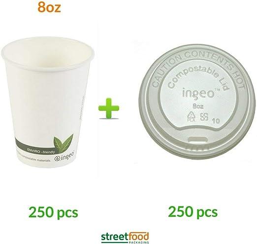 Vasos de café compostables para llevar, biodegradables, con tapas ...