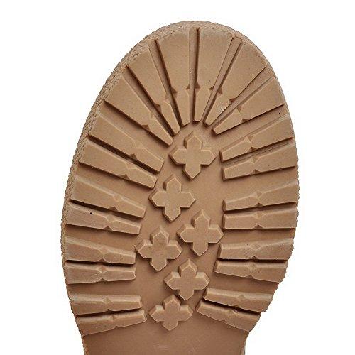 AllhqFashion Damen PU Leder Mittler Absatz Rund Rein Zehe Ziehen auf Pumps Schuhe Weinrot