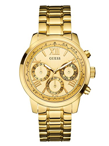 GUESS Women's U0330L1 Sporty Gold-Tone Stainless Steel Watch with Multi-function Dial and Pilot Buckle by GUESS