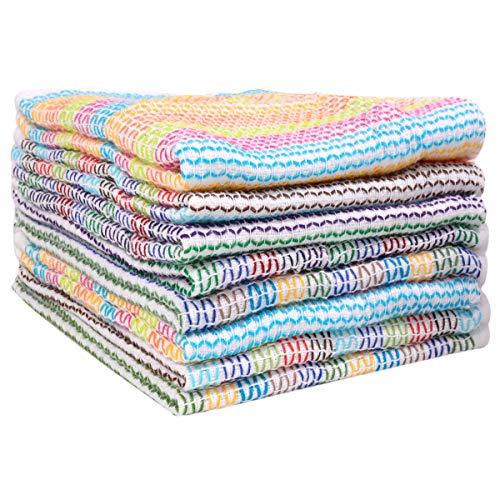 (Lifaith Kitchen Dish Cloths 100% Cotton Tea Towels, Soft and Absorbent, Everyday Kitchen Basic, Machine Washable Kitchen Dishcloths 13 x 13 Inch Set of 8 Multi)