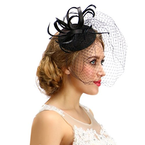 [Women Black Fascinator Cocktail Hat With Veil Handmade For Wedding Tea Party] (All White Party Outfit Ideas)