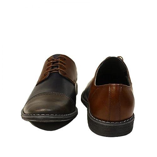 Modello Pasquale - 44 EU - Cuero Italiano Hecho A Mano Hombre Piel Borgoña Zapatos Vestir Oxfords - Cuero Cuero Repujado - Encaje kTEaufO
