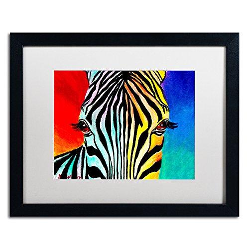 Zebra Artwork DawgArt in White Matte and Black Frame, 16 by - Zebra Black Frame
