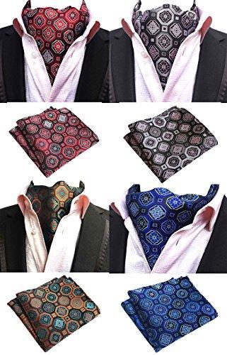 (Mens 4 Pack Luxury Plaid Cravat Wedding Ascot Scarf Tie & Pocket Square Set 4Pcs)