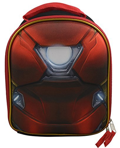 Marvel DC Comics Superheroes Domed Shaped 3D Pop Out Boys Insulated Lunchbox Lunch Kit (Ironman Lunch Box)
