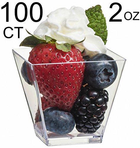 Zappy 100 Ct Elegant Square Mini Cube 2oz Clear Tasting Sample Shot Glasses 100 Ct Dessert Cups Disposable Plastic -
