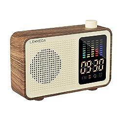 Portable Bluetooth Speaker Vintage Retro Style Wood Grain Bluetooth 4.1 Wireless Speaker with FM Radio Alarm Clock AUX Input Support TF Card (Walnut)