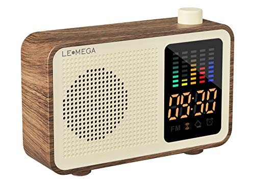 (Portable Bluetooth Speaker Vintage Retro Style Wood Grain Bluetooth 4.1 Wireless Speaker with FM Radio Alarm Clock AUX Input Support TF Card (Walnut))
