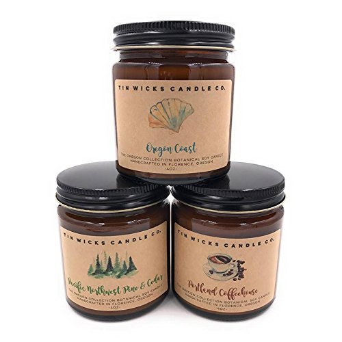 The Oregon Collection Candle Gift Set || 3 - 4oz. Artisan Botanical Soy Wax Candle Jars || Tin Wicks Candle Co. || Perfect Gift || Handcrafted Soy Candles || Candle Gift Set (Artisan Gifts)