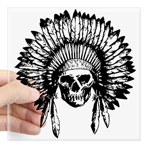 "CafePress Native American Skull Sticker Square Bumper Sticker Car Decal, 3""x3"" (Small) or 5""x5"" (Large)"