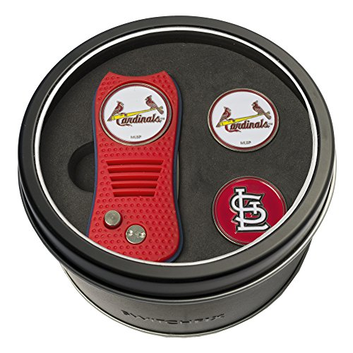 Team Golf MLB St Louis Cardinals Gift Set Switchblade Divot Tool with 3 Double-Sided Magnetic Ball Markers, Patented Single Prong Design, Causes Less Damage to Greens, Switchblade - Single Louis Cardinals