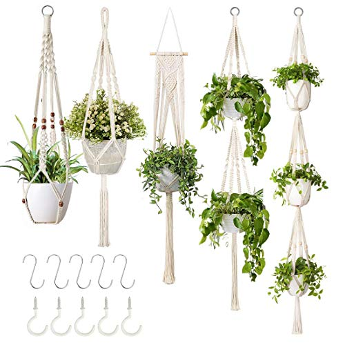 5-Pack Macrame Plant Hangers with 5 Hooks, Different Tiers, Handmade Cotton Rope Hanging Planters Set Flower Pots Holder…
