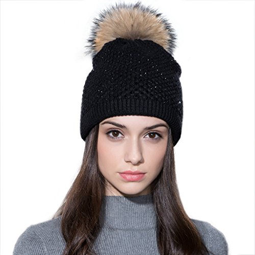 Crystal Skull Hat (Ferand Ladies Raccoon Fur Pom Pom Hat Knitted Crystal Winter Bobble Beanie For Women, Black)