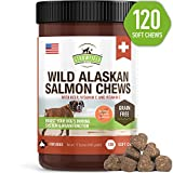 Salmon Oil for Dogs – Grain Free Dog Treats, 120 Chews – Omega 3 Fish Oil Pet Supplement for Joint Support, Shedding, Healthy Coat, Itching Skin Allergy Relief, Arthritis Pain, Anti Inflammatory, USA For Sale