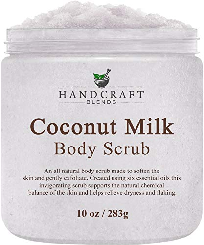 100% Natural Coconut Milk Scrub - A Deep Nourishing & Exfoliating Body Scrub Made With Dead Sea Salt and Essential Oils - Best Body Scrub for Cellulite, Stretch Marks, and Varicose Veins - 10 OZ