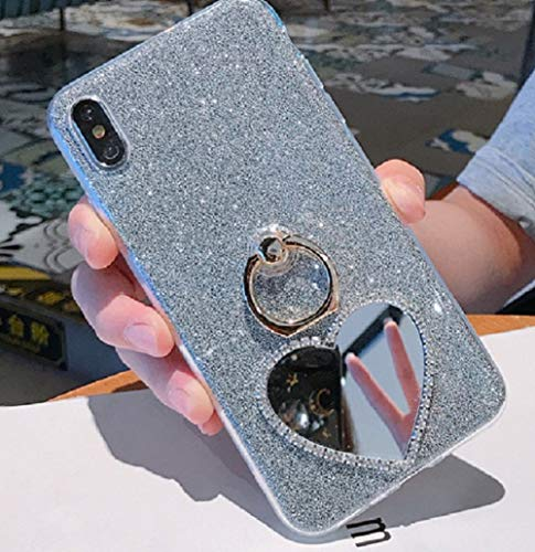 Price comparison product image Cfrau 2 in 1 Glitter Case with Black Stylus for OnePlus 7 Pro, Luxury Crystal Diamond Makeup Love Heart Mirror Soft TPU Case with 360 Ring Holder Kickstand for OnePlus 7 Pro, Blue 01