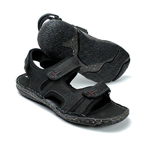 Labo Mens Sandali In Vera Pelle Scarpe Ultra Comfort Soft Wide Black2