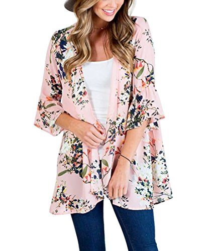 MIROL Women's Loose Ruffled Half Sleeve Floral Printed Kimono Open Front Chiffon Cardigan Cover up Blouse Tops -