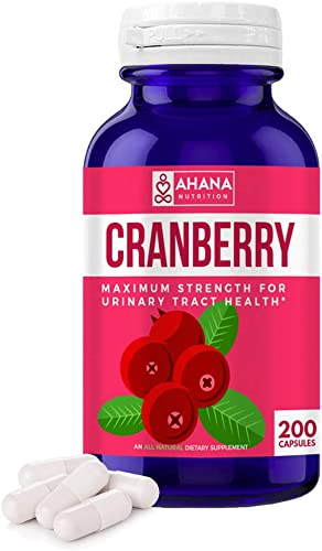Cranberry Pills by Ahana Nutrition – Natural Cranberry Supplement for Urinary Tract and Bladder Health, and UTI Support – Equivalent of 25,000 mg of Fresh Pure Cranberries Per Capsule 200ct Bottle