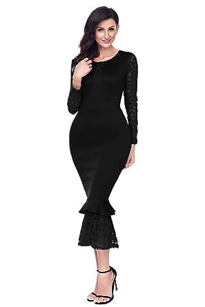 Shelovesclothing Womens Long Sleeve Lace Ruffle Mermaid Hem Bodycon Midi Cocktail Dress (Black, Small