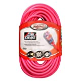 Coleman Cable 02579-03 12/3 100-Foot Neon Outdoor Extension Cord (Bright Pink)
