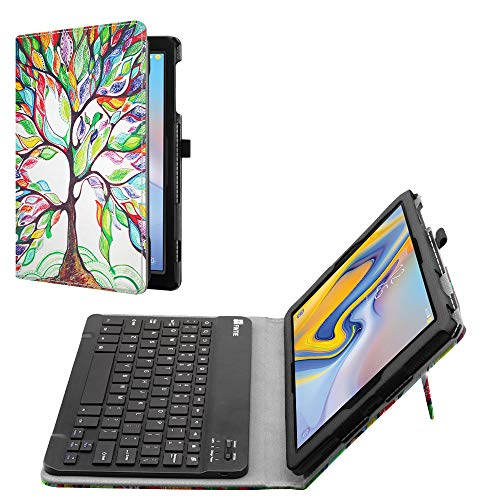 Fintie Folio Keyboard Case for Samsung Galaxy Tab A 10.5 2018 Model SM-T590/T595/T597 - Premium PU Leather Stand Cover with Removable Wireless Bluetooth Keyboard, Love Tree